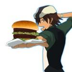 [イラスト] ハンバーガーを潰します